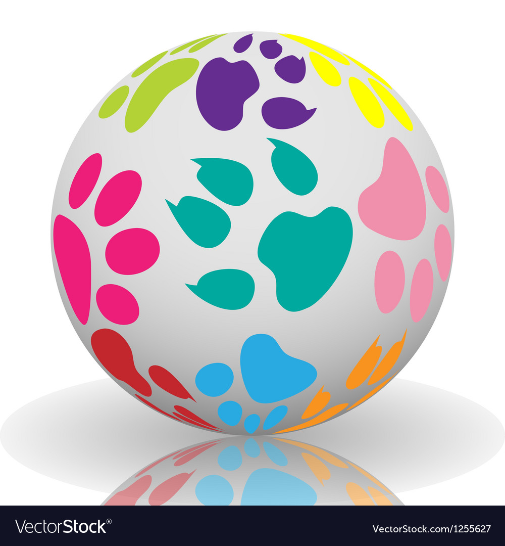 Paw prints on the ball vector   Price: 1 Credit (USD $1)