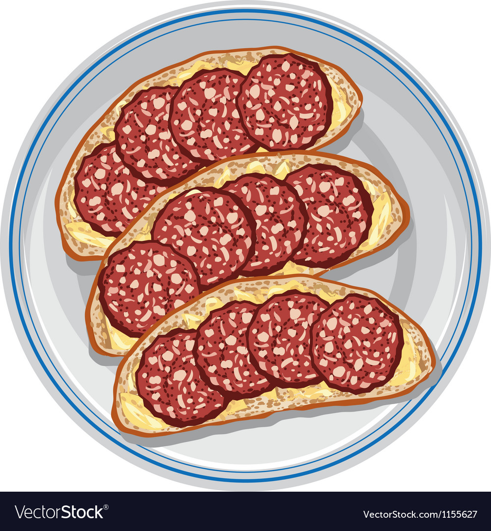 Sandwiches with salami vector | Price: 3 Credit (USD $3)