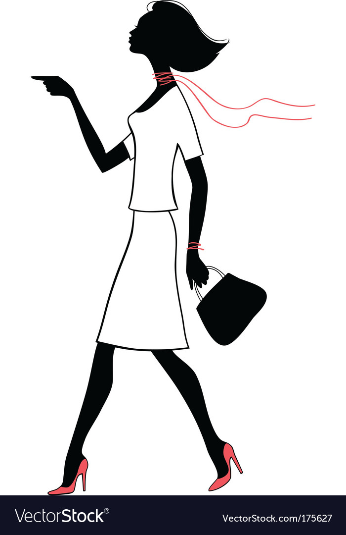 Silhouette beauty woman with bag vector | Price: 1 Credit (USD $1)