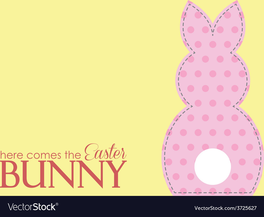 Single easter pink rabbit wording vector | Price: 1 Credit (USD $1)