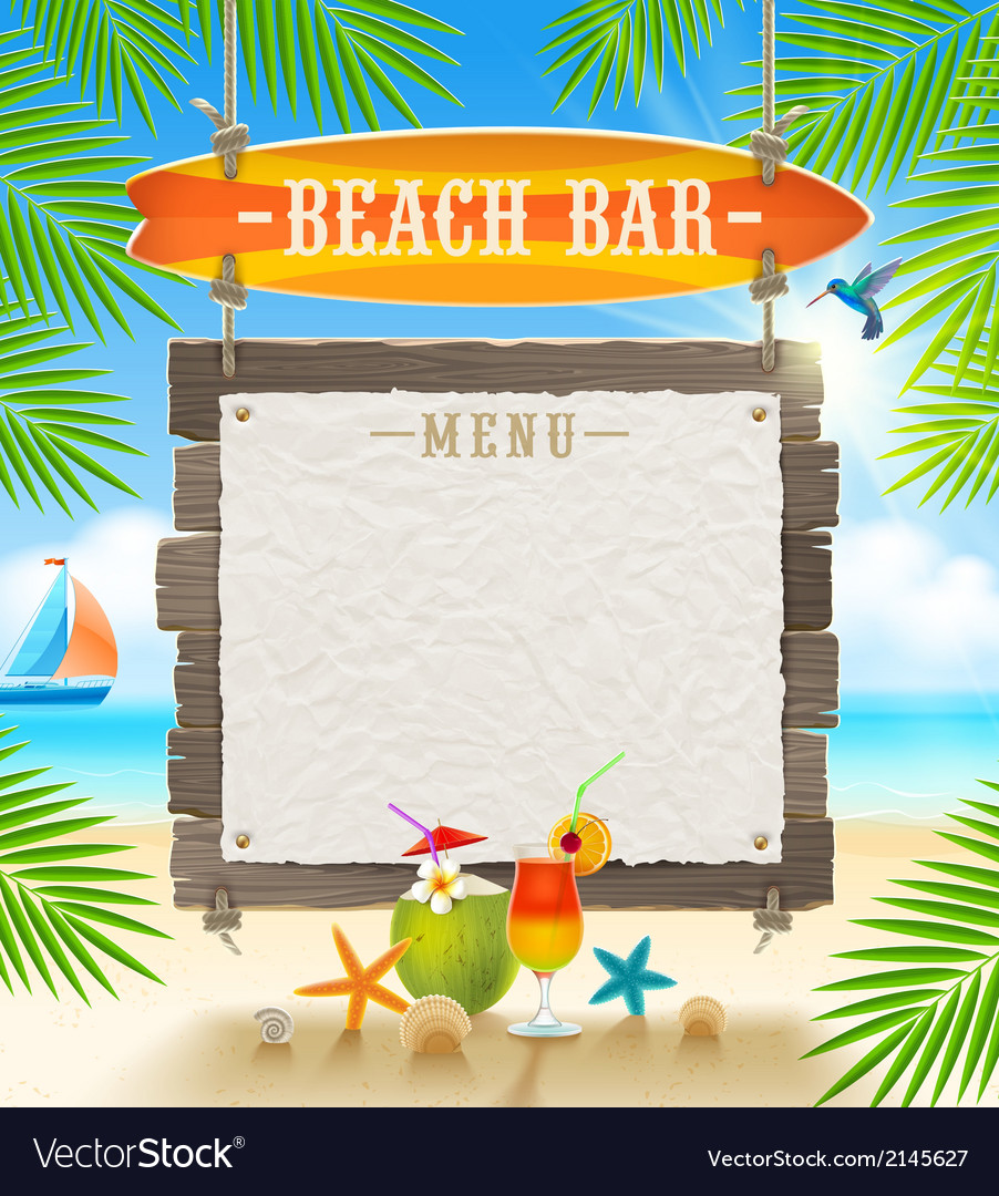 Tropical beach bar signboard and menu banner vector | Price: 3 Credit (USD $3)