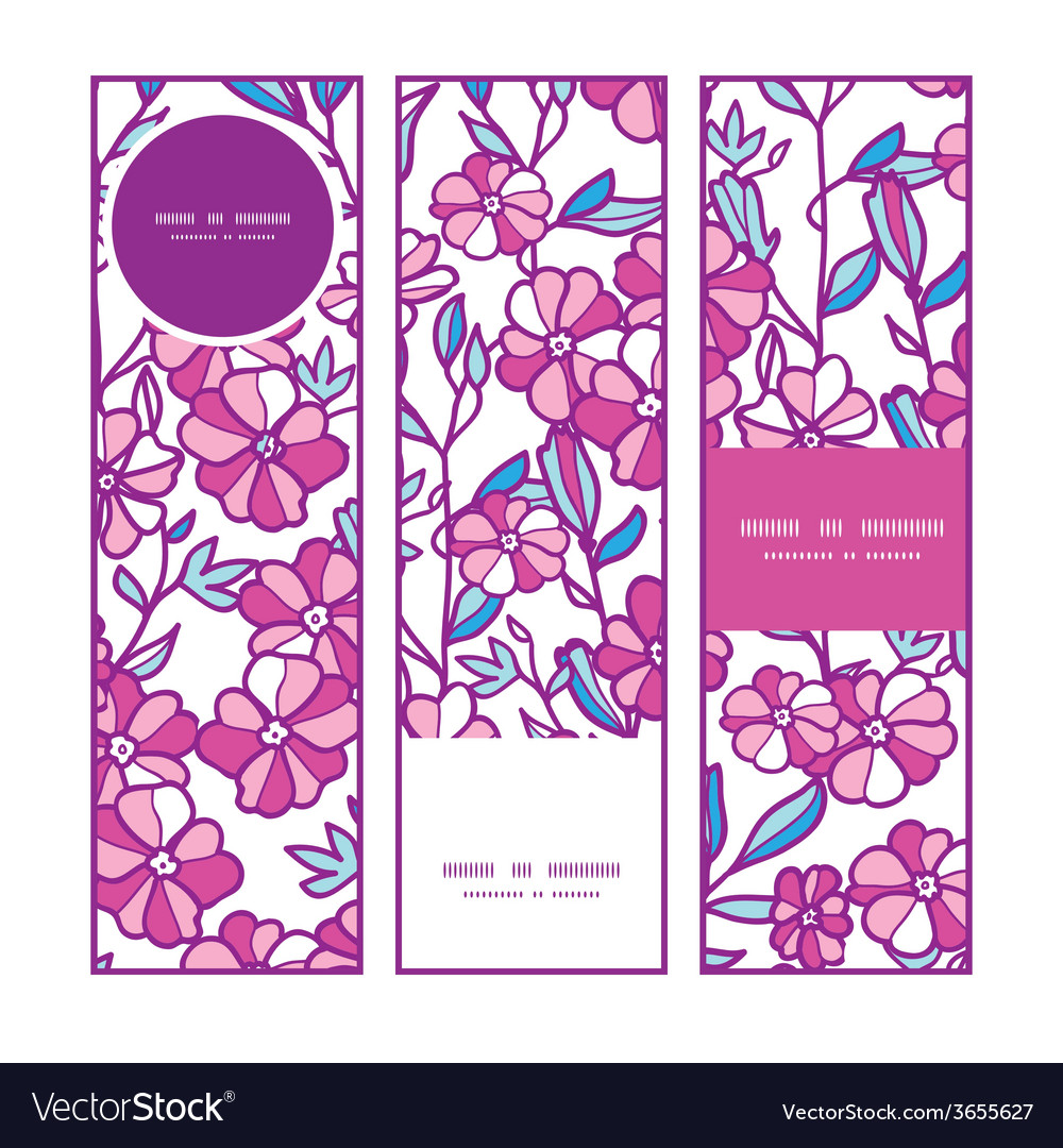 Vibrant field flowers vertical banners set pattern vector | Price: 1 Credit (USD $1)