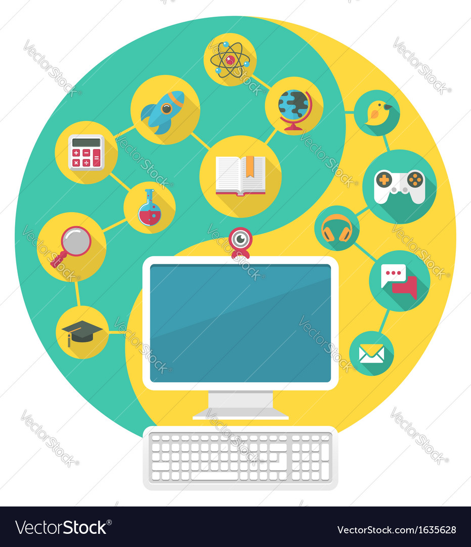 Computer for education and spare time vector | Price: 1 Credit (USD $1)