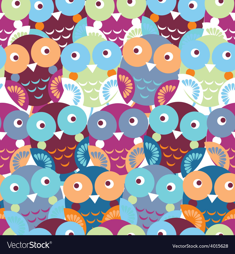 Cute colorful seamless pattern with owl blue pink vector | Price: 1 Credit (USD $1)