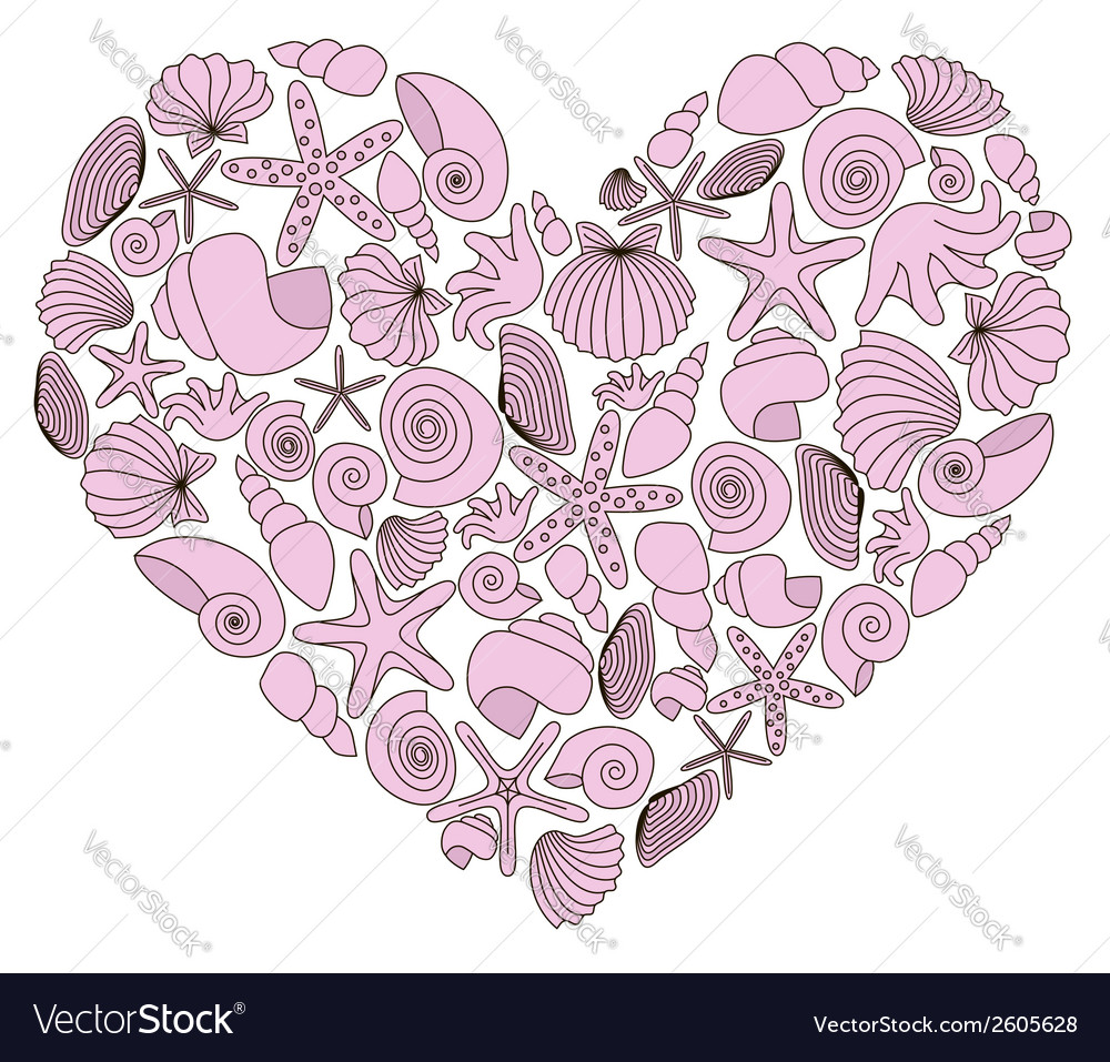 Heart made of pink shells vector | Price: 1 Credit (USD $1)