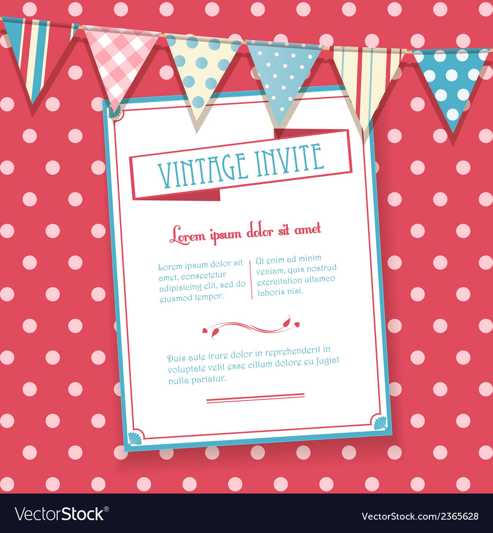 Invite and bunting background vector | Price: 1 Credit (USD $1)