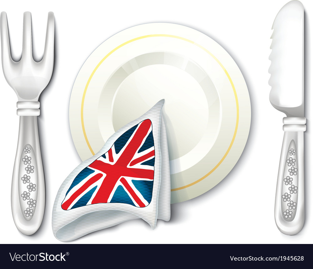 Plate fork knife and british flag breakfast vector | Price: 1 Credit (USD $1)