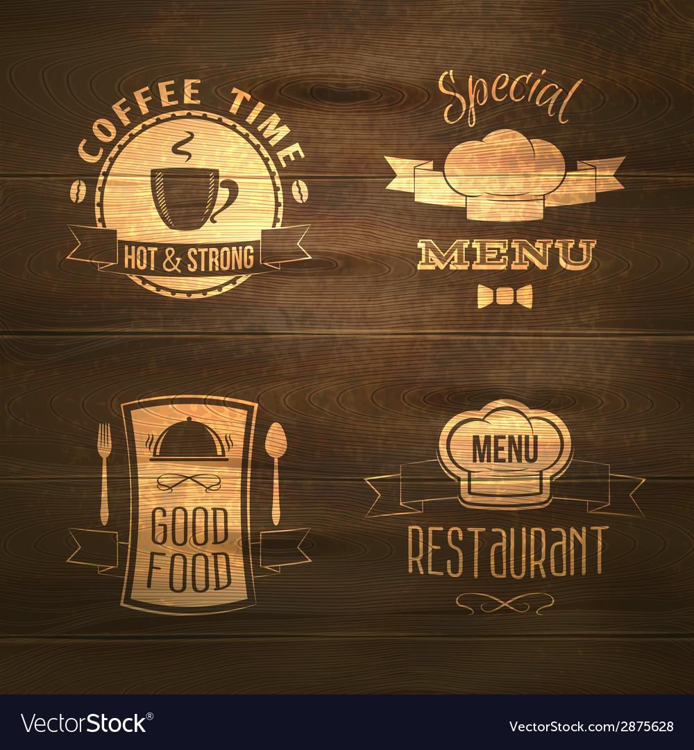 Restaurant menu emblems set wooden vector | Price: 1 Credit (USD $1)