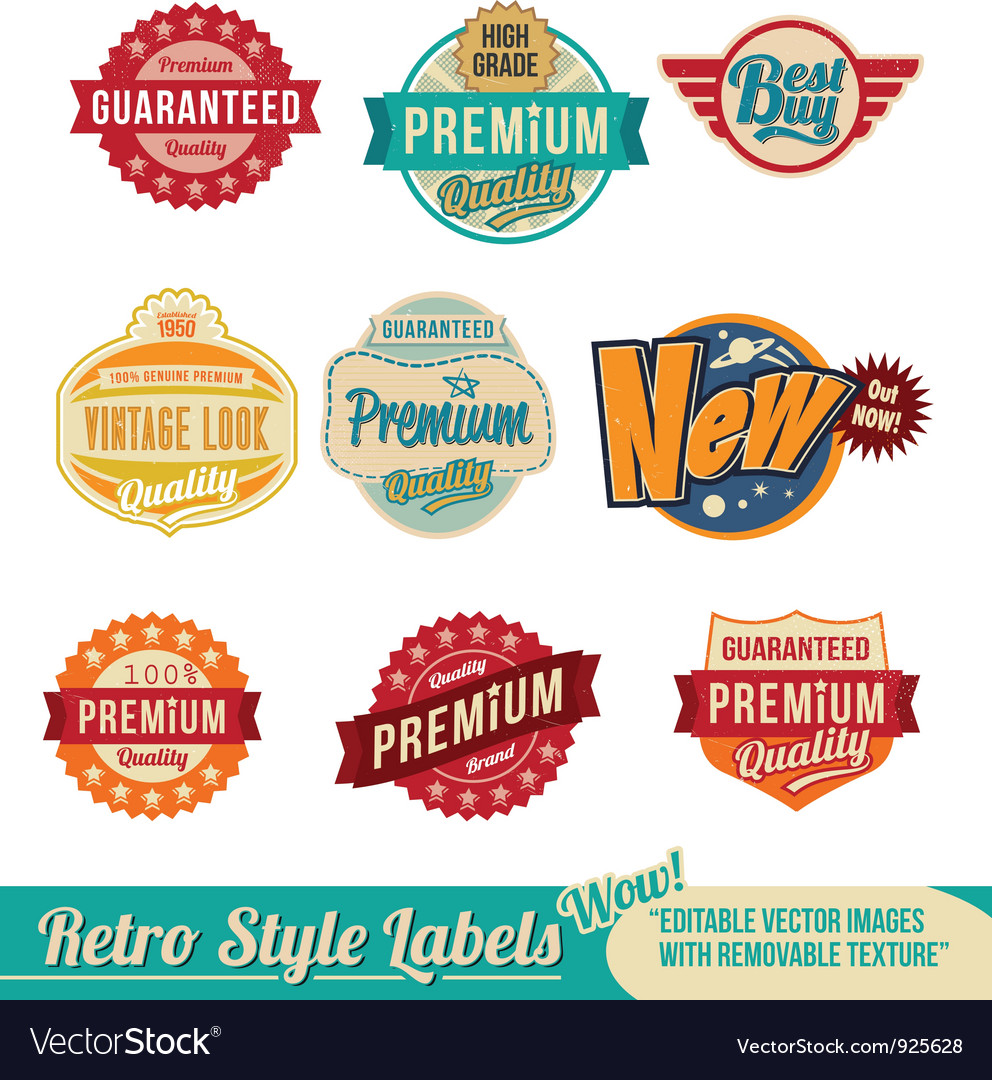 Retro vintage label set vector | Price: 3 Credit (USD $3)