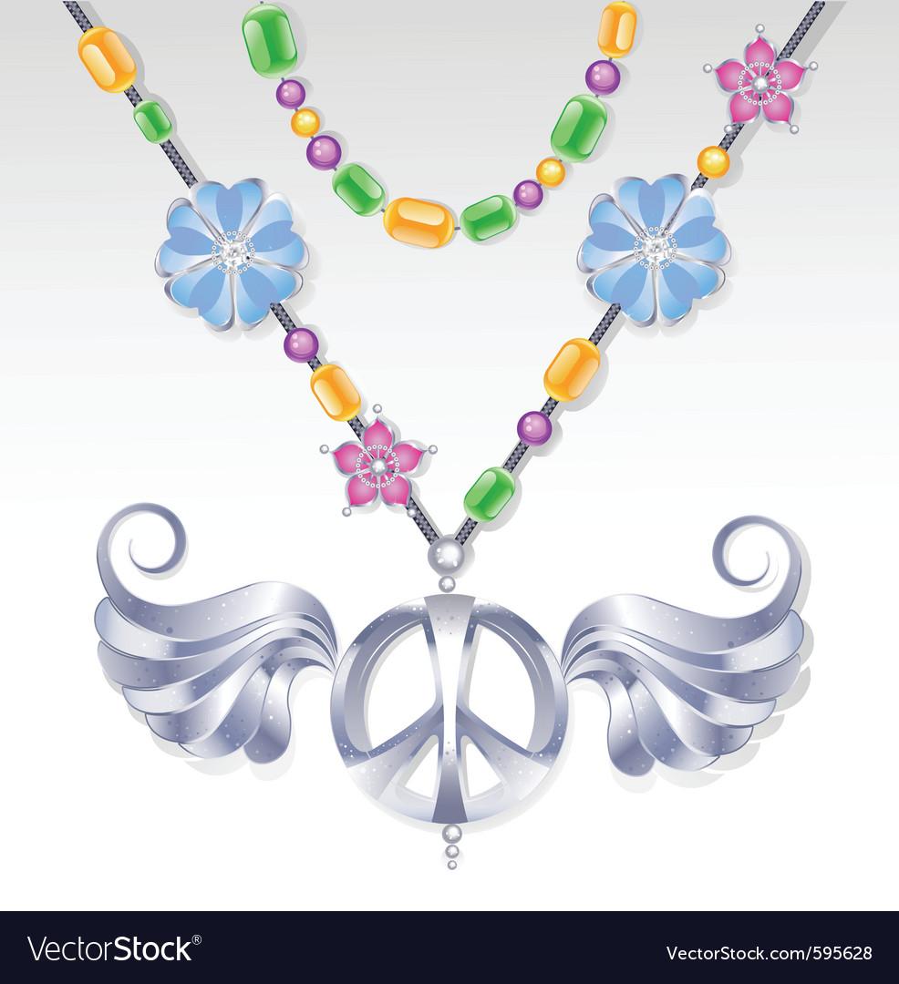 Silver peace necklace vector | Price: 3 Credit (USD $3)
