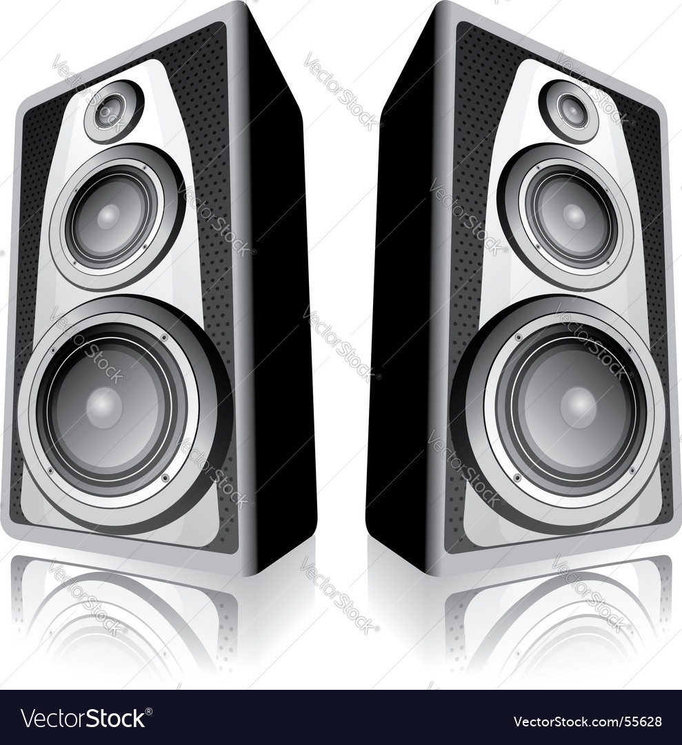 Speakers on white background vector | Price: 1 Credit (USD $1)