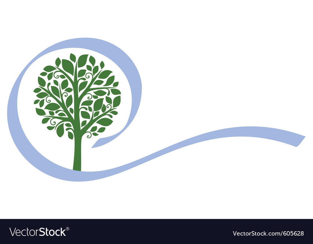 Tree emblem 5 isolated on white vector | Price: 1 Credit (USD $1)