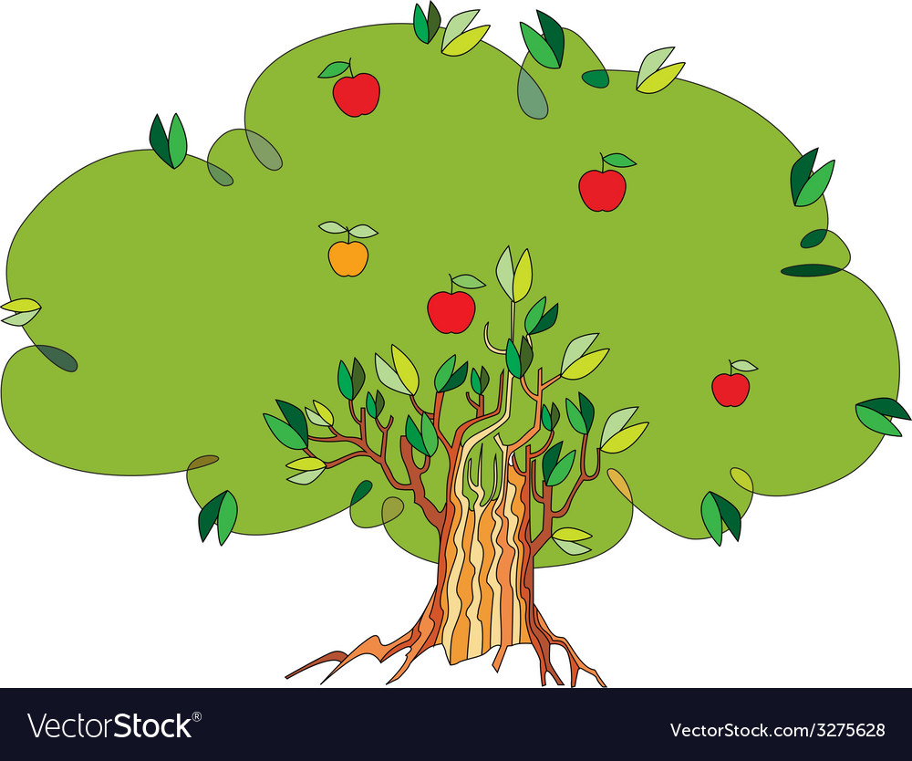 Tree with apples vector | Price: 1 Credit (USD $1)