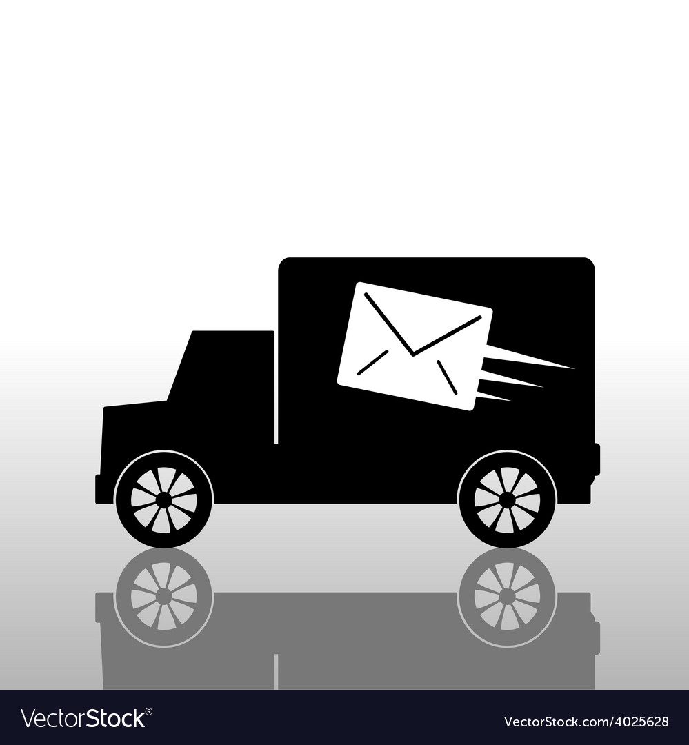 Truck with a letter envelope vector | Price: 1 Credit (USD $1)