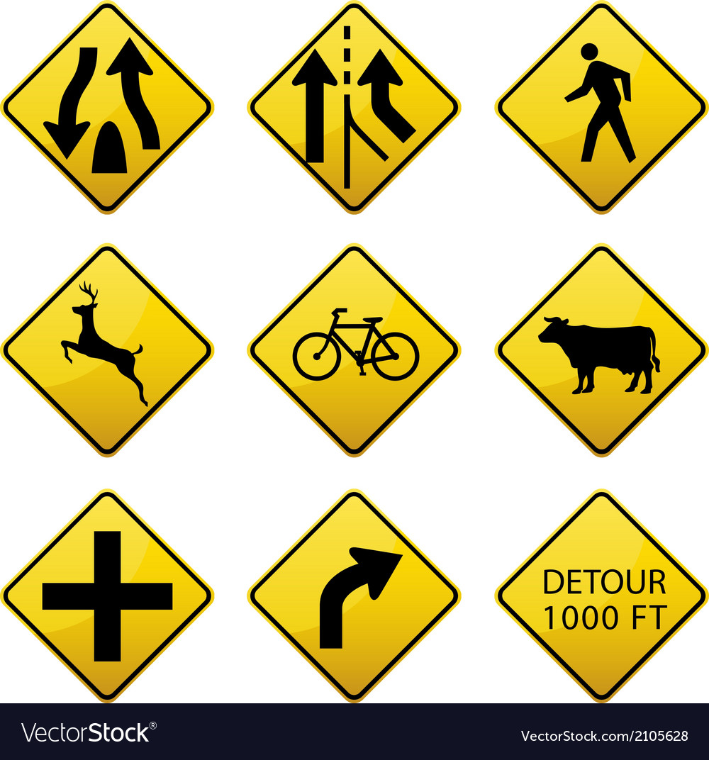 Warning traffic signs icons vector | Price: 1 Credit (USD $1)