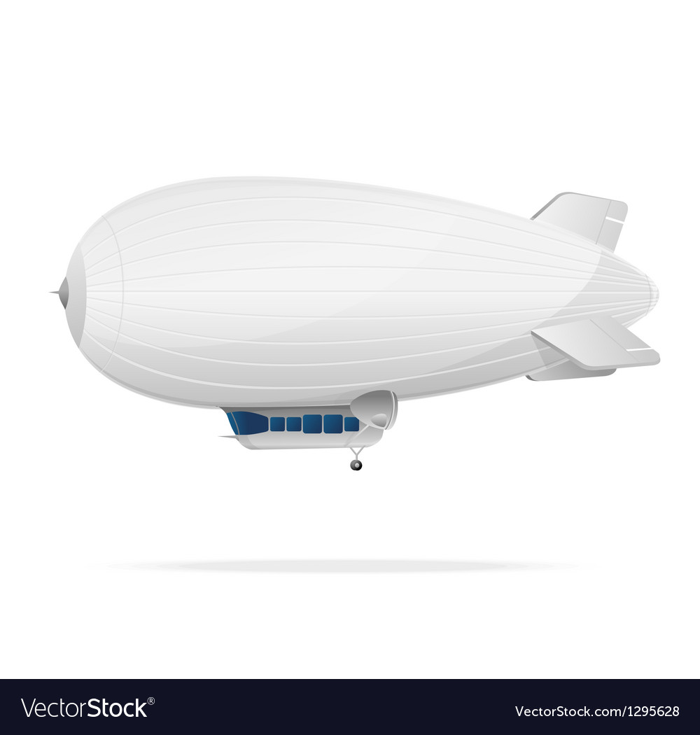 White dirigible balloon on a white background vector | Price: 1 Credit (USD $1)