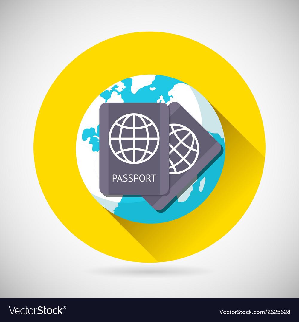 World trip symbol international passport earth vector | Price: 1 Credit (USD $1)