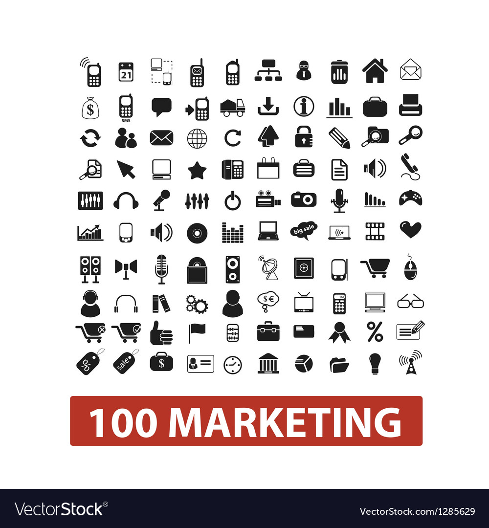 100 marketing icons set vector | Price: 1 Credit (USD $1)