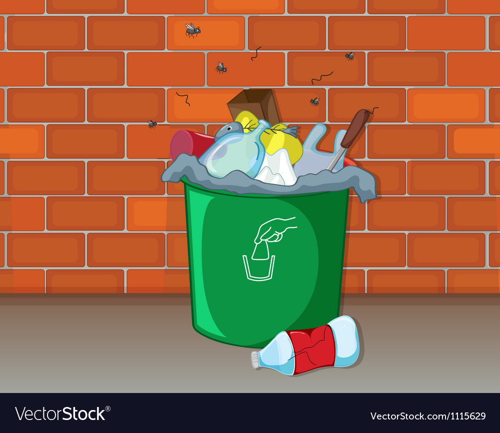 Dustbin in front of a wall vector | Price: 1 Credit (USD $1)