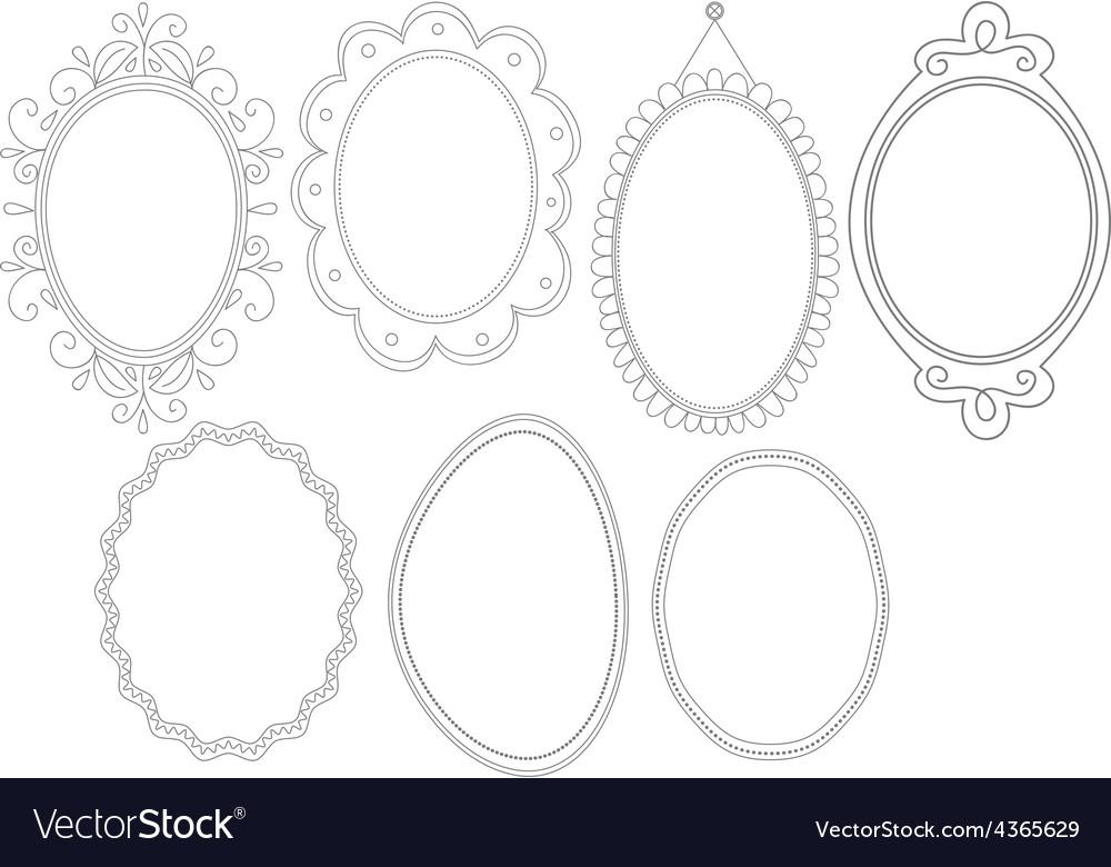 Elegant ornate oval doodle frames vector | Price: 1 Credit (USD $1)
