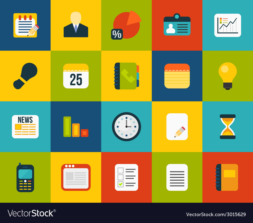 Flat icons set 8 vector | Price: 1 Credit (USD $1)
