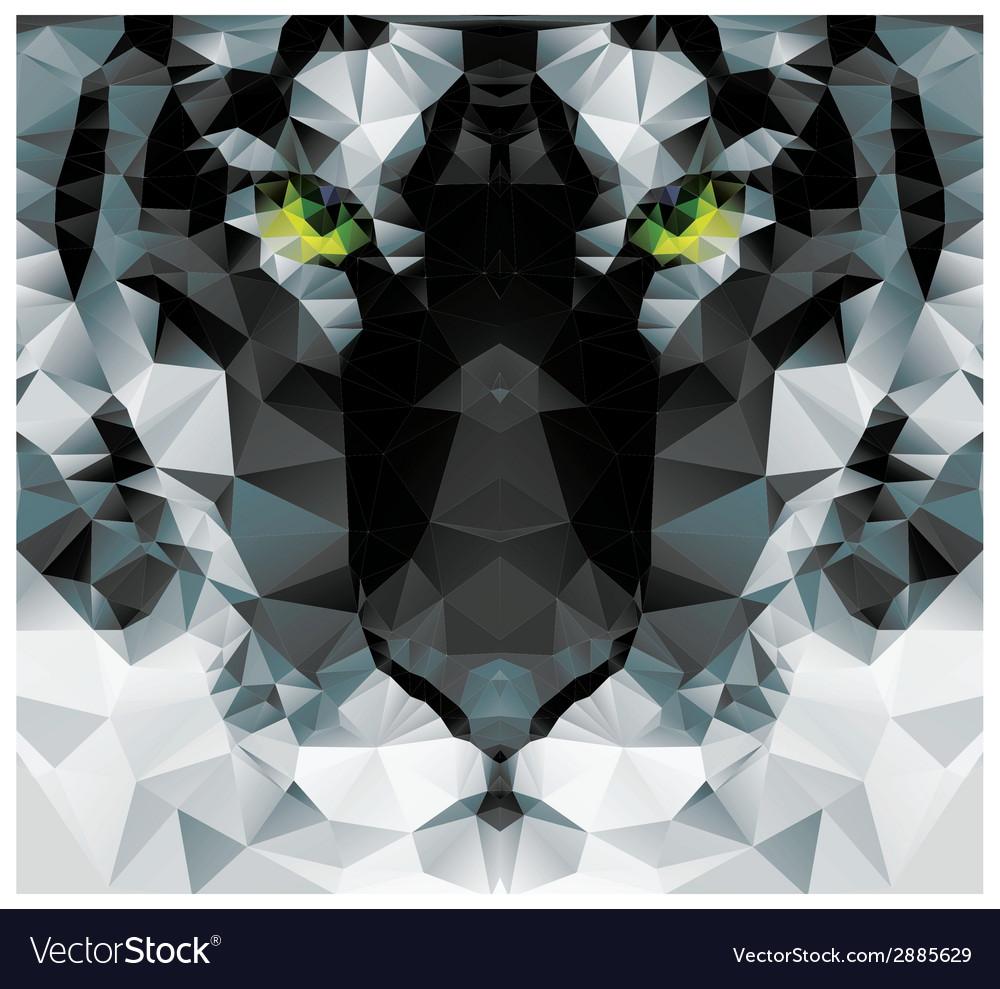 Geometric polygon white tiger head triangle vector | Price: 1 Credit (USD $1)