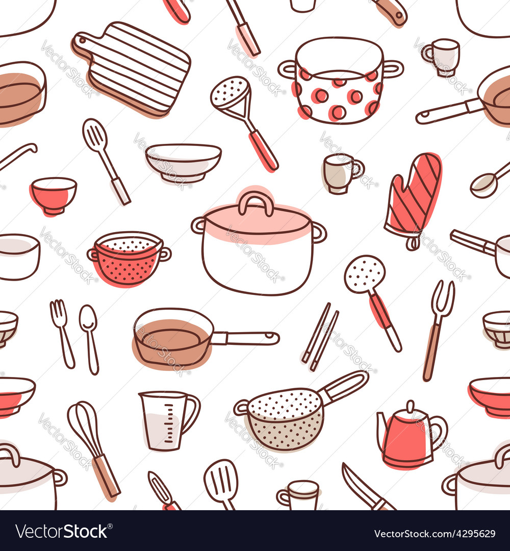 Kitchenware and cooking utensils red palette vector | Price: 1 Credit (USD $1)