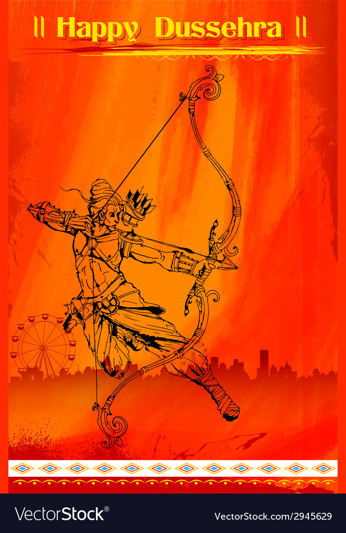Lord rama with bow arrow killimg ravana vector | Price: 1 Credit (USD $1)