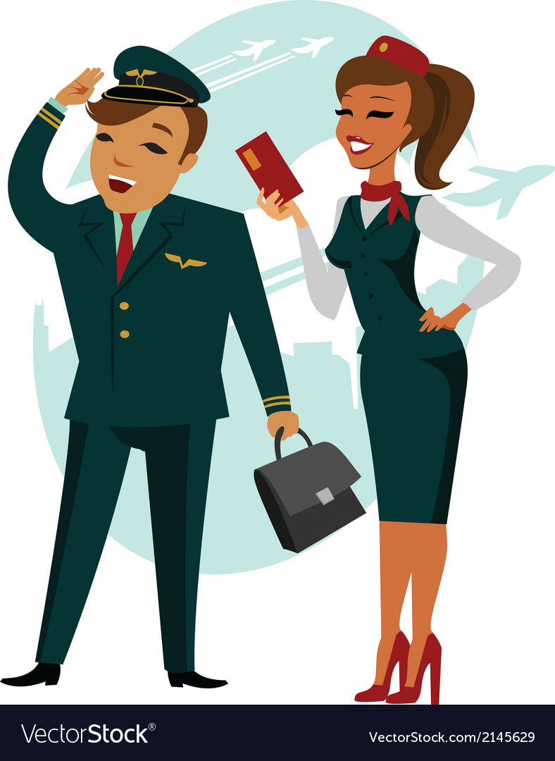 The pilot and stewardess vector | Price: 1 Credit (USD $1)