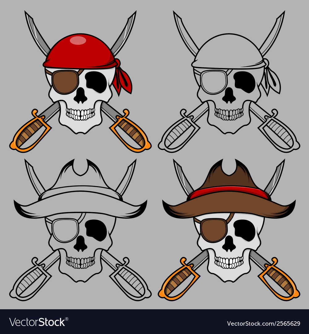 Pirate skull mascot vector | Price: 1 Credit (USD $1)