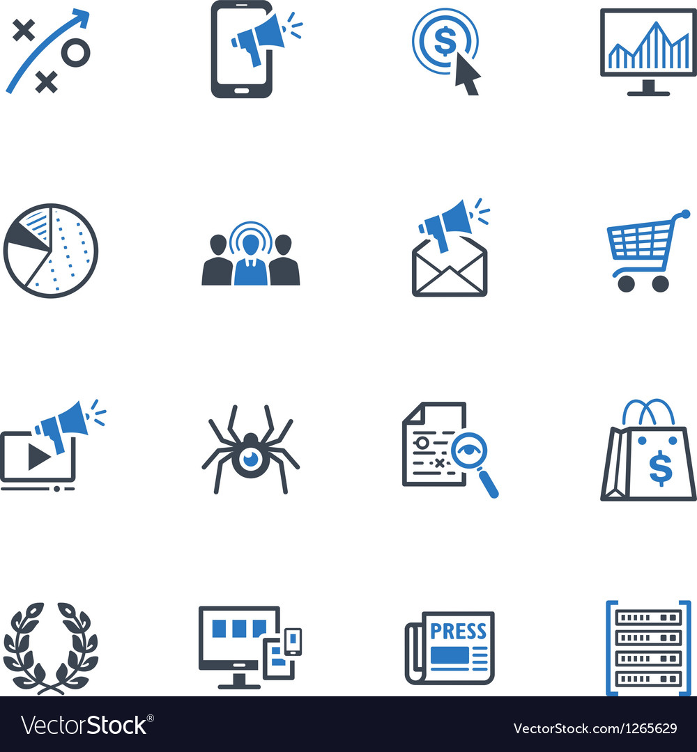Seo and internet marketing icons set 3-blue series vector | Price: 1 Credit (USD $1)
