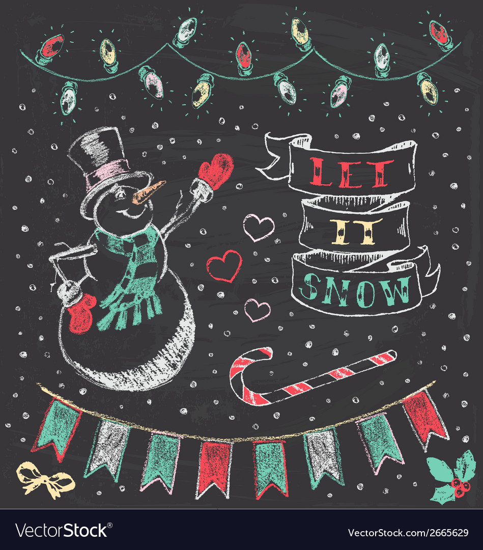Vintage christmas chalkboard hand drawn set 3 vector | Price: 1 Credit (USD $1)