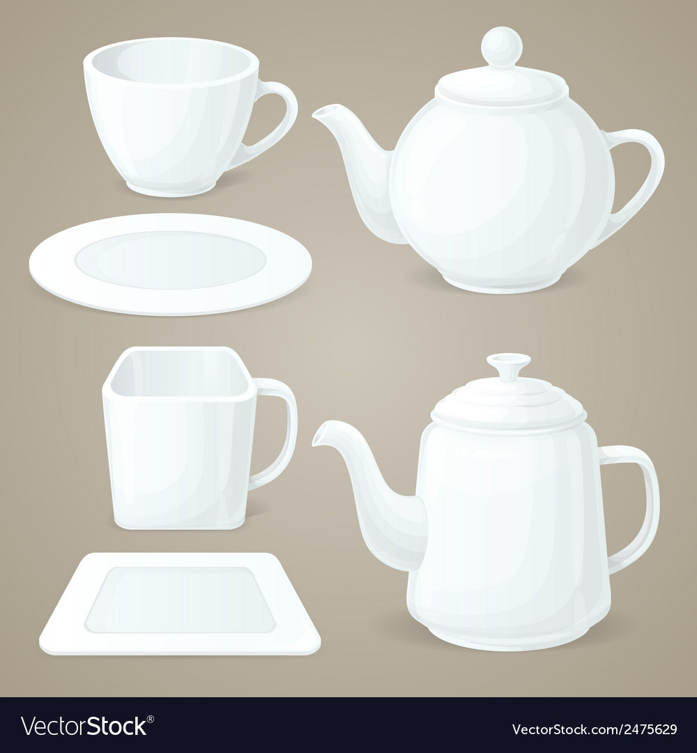 White crockery set vector | Price: 1 Credit (USD $1)