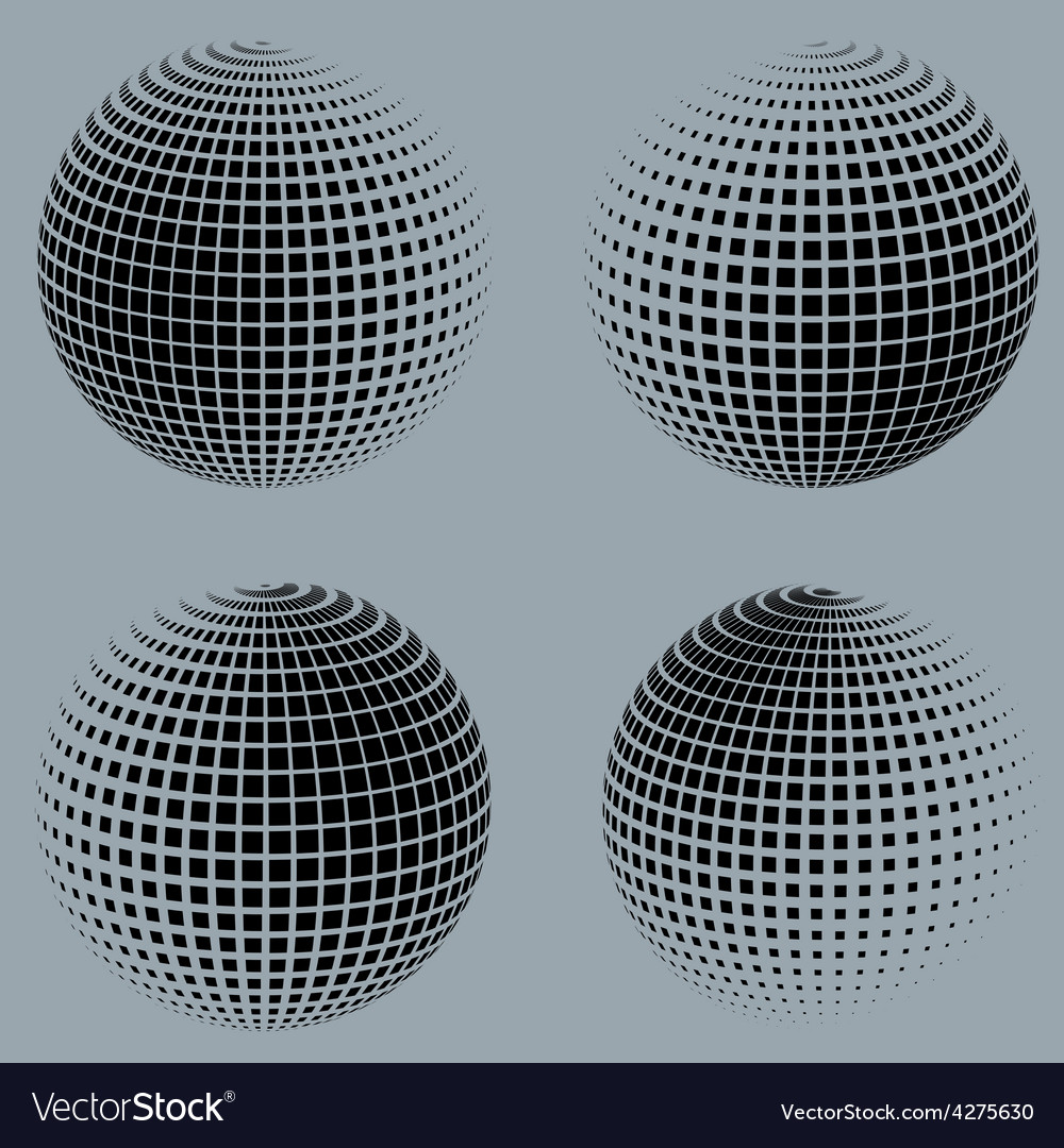 Collection of halftone sphere logo template vector | Price: 1 Credit (USD $1)