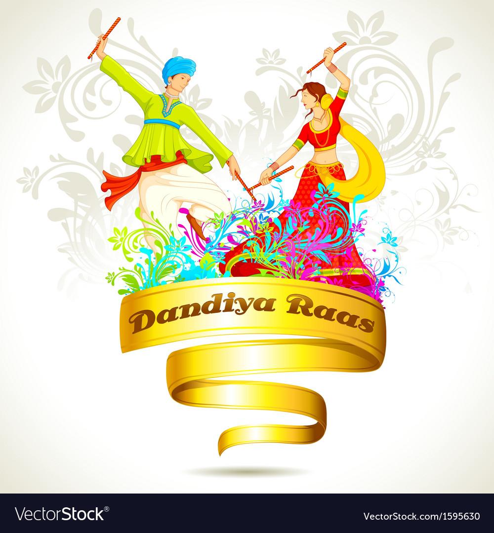 Couple playing dandiya on navratri vector | Price: 1 Credit (USD $1)