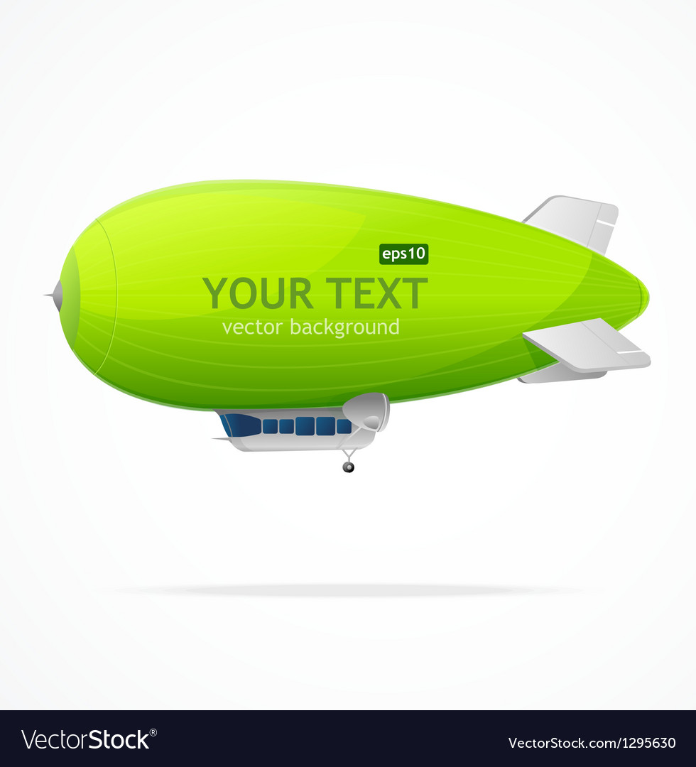 Green dirigible balloon and text vector | Price: 1 Credit (USD $1)
