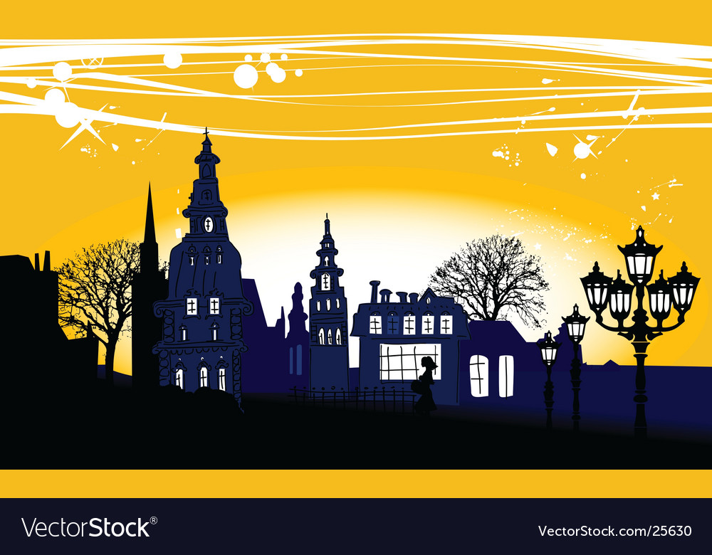 Night panorama of the city vector | Price: 3 Credit (USD $3)