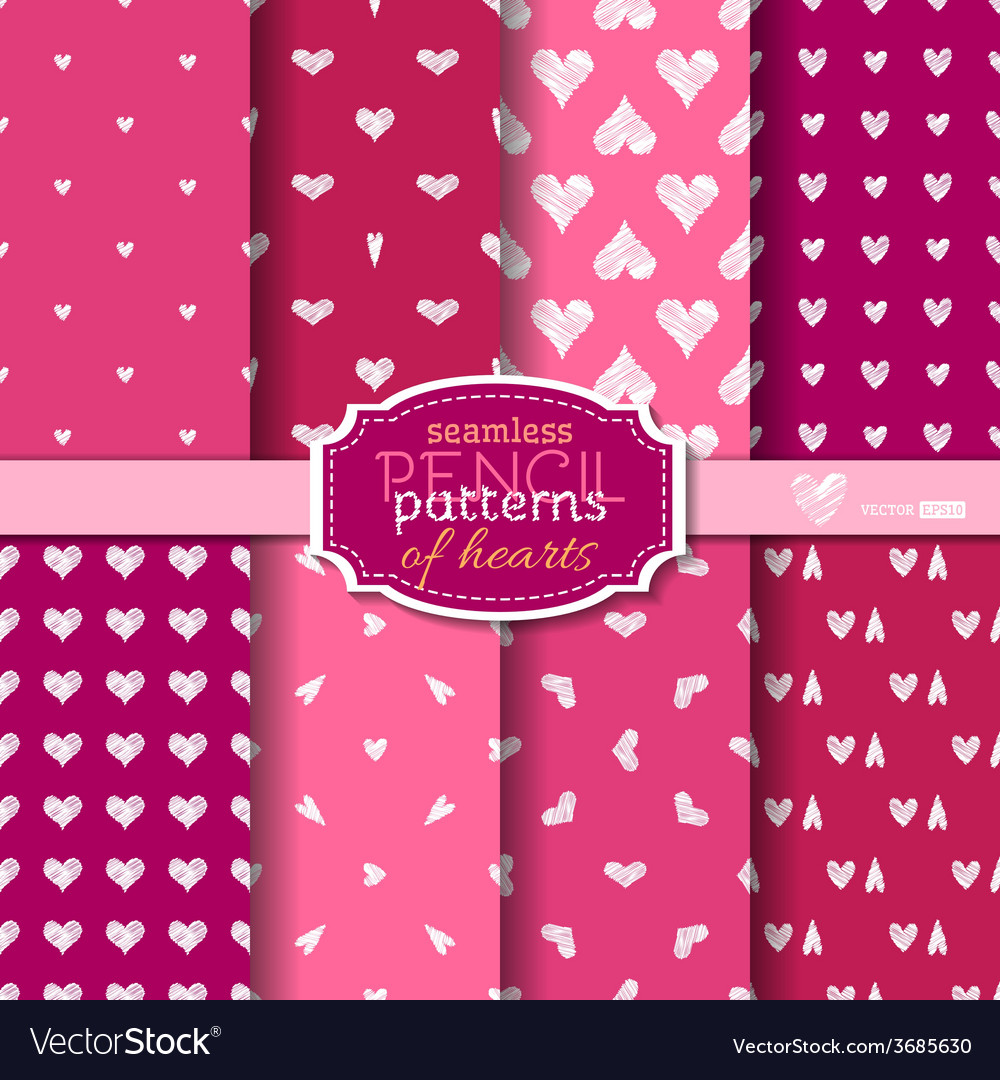 Seamless pencil patterns of hearts vector | Price: 1 Credit (USD $1)