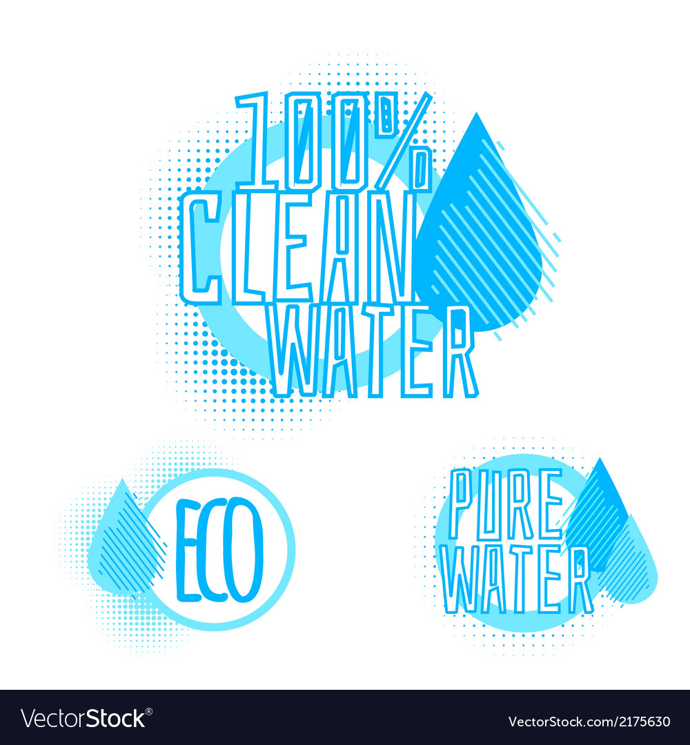 Set of three clear water badges vector | Price: 1 Credit (USD $1)