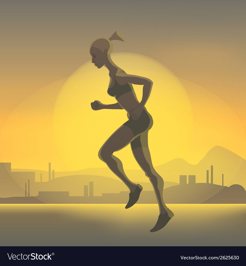 Silhouette of running girl vector | Price: 1 Credit (USD $1)
