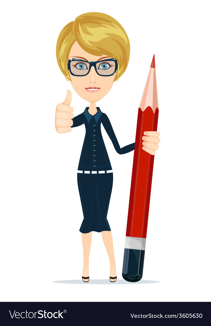 Smiling cartoon businesswoman or teacher giving vector | Price: 1 Credit (USD $1)