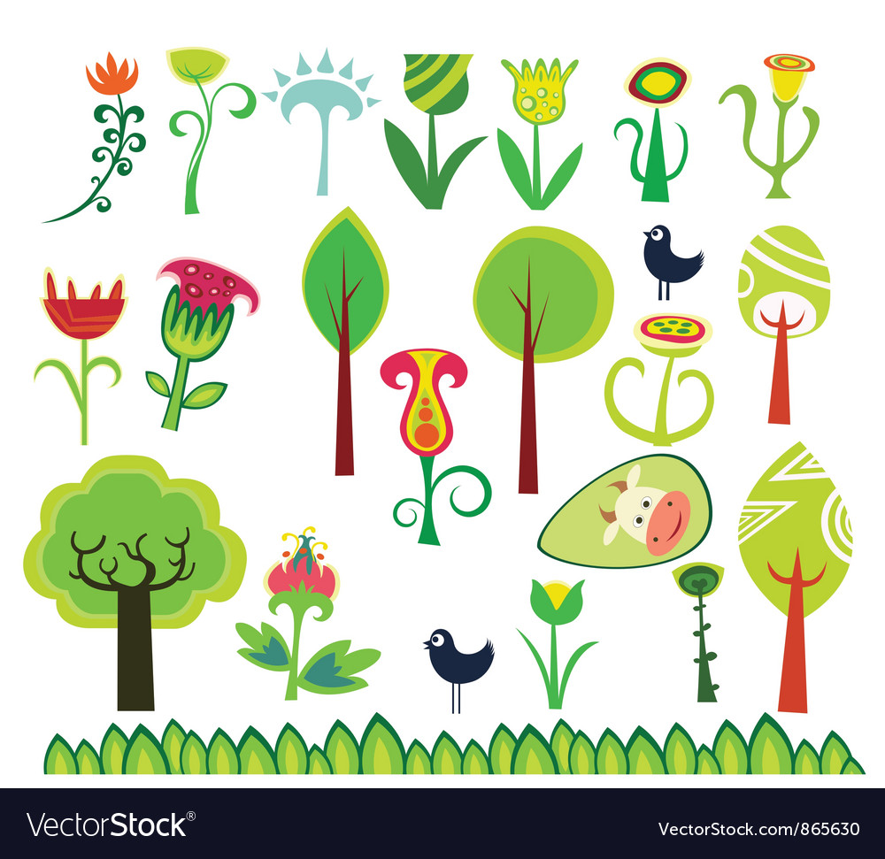 Spring design floral elements vector | Price: 1 Credit (USD $1)