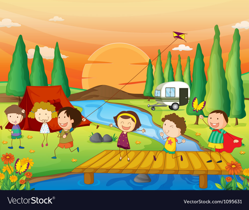 A river a bench and kids vector | Price: 3 Credit (USD $3)