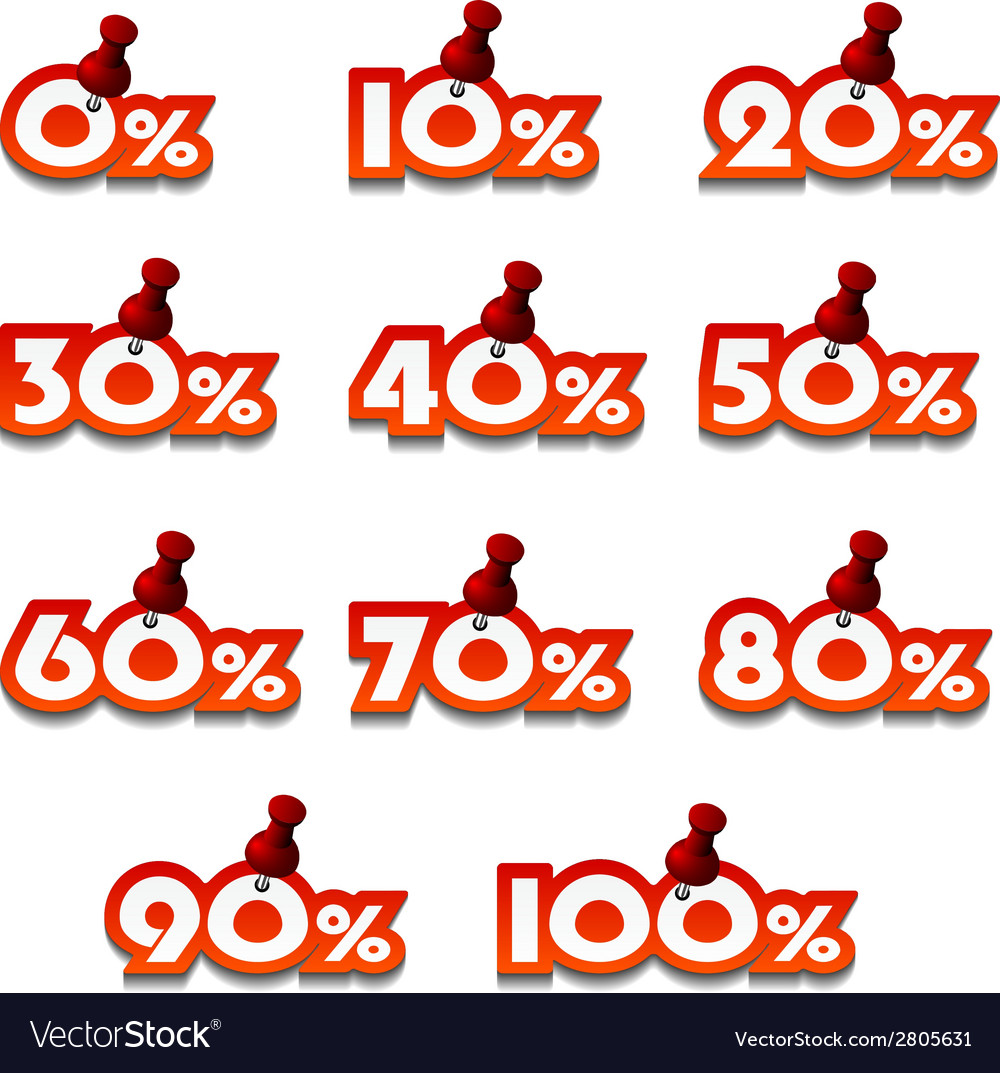 Attached promotional percentage numbers vector | Price: 1 Credit (USD $1)