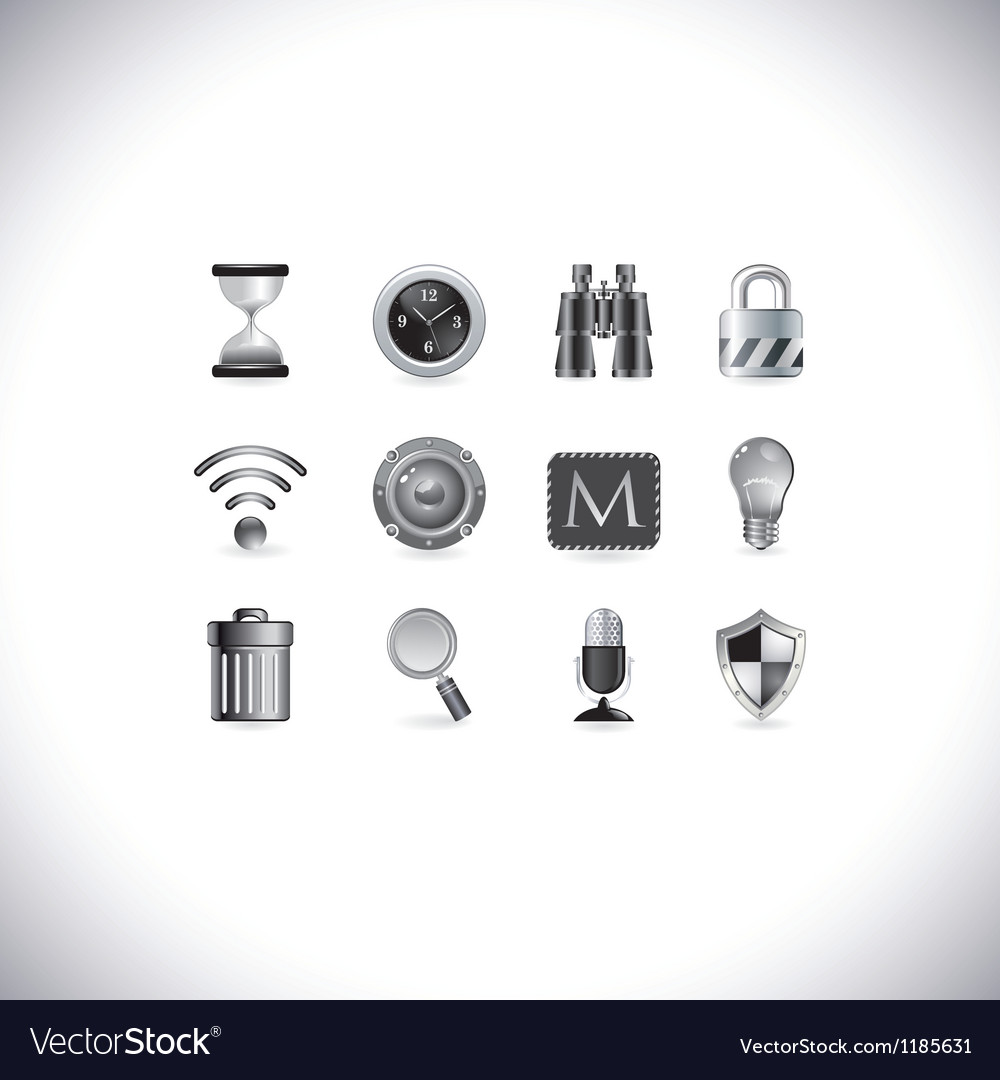 Black and white icons vector | Price: 3 Credit (USD $3)
