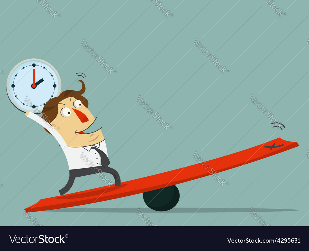 Businessman hold clock and stand on lever vector | Price: 1 Credit (USD $1)