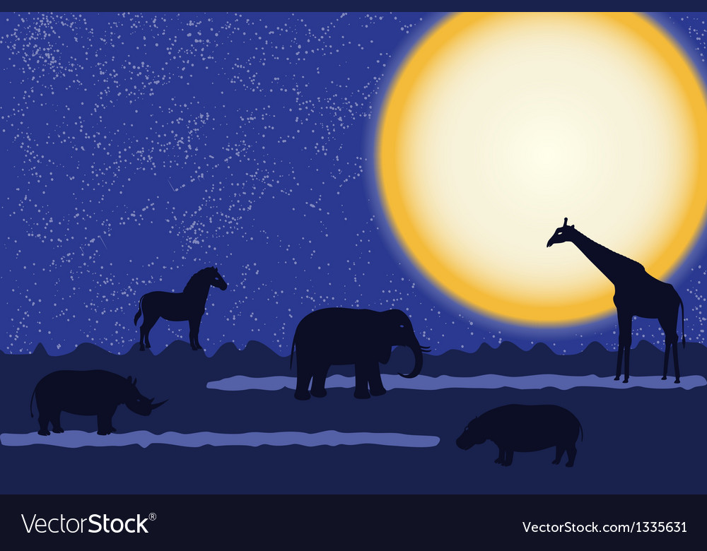 Card with african animals at night vector   Price: 1 Credit (USD $1)