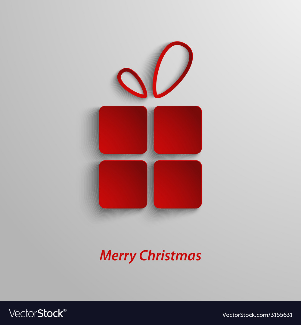Christmas card with red gift on white background vector | Price: 1 Credit (USD $1)