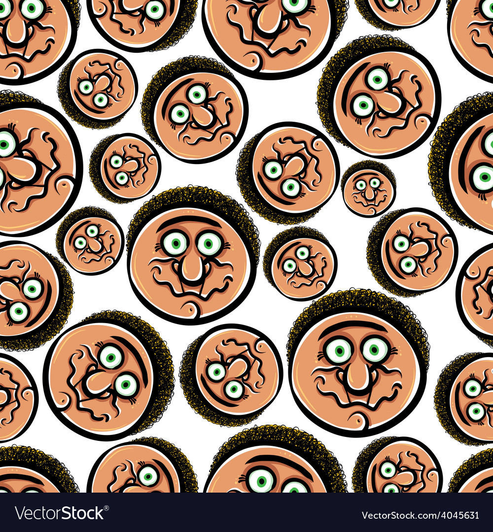 Faces seamless background cartoon style pattern vector | Price: 1 Credit (USD $1)