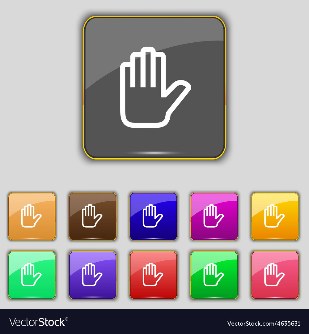 Hand print stop icon sign set with eleven colored vector | Price: 1 Credit (USD $1)